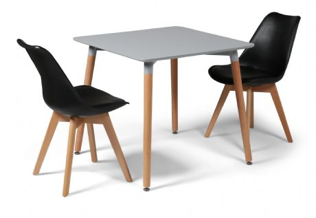 Toulouse Tulip Eiffel Designer Dining Set Grey Square Table & 2 Black Chairs Sale Now On Your Price Furniture